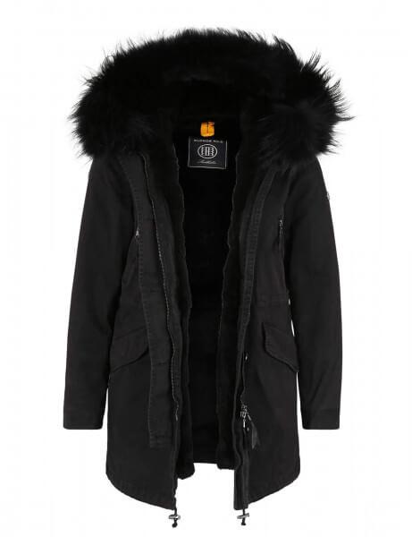 ASPEN 415 • Vollfell Winterparka • Black DTM