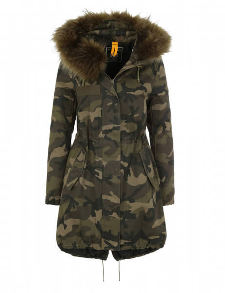 blonde no 8 damen echtfell parka albi 515 camo parka. Black Bedroom Furniture Sets. Home Design Ideas