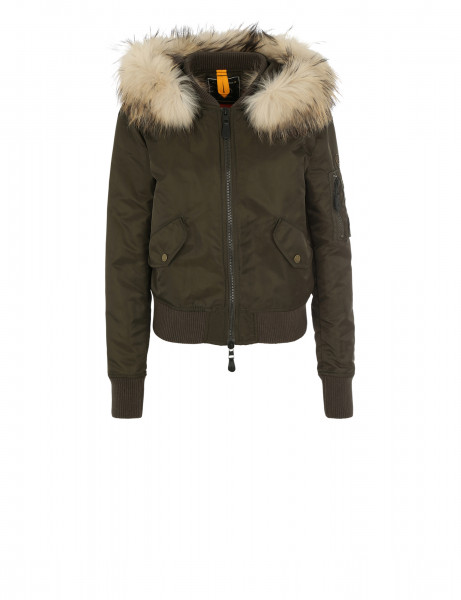 Blonde No.8 Damen Echtfell Jacke Boston 515 Night Green Taupe
