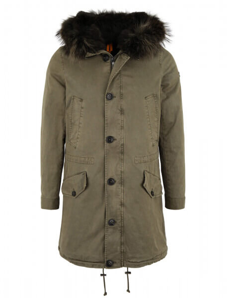 ZERMATT 515 • Echtfell Parka • Blonde Kaki / Night Green