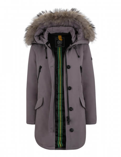POLAR 515 • Echtfell Daunenparka • Light Grey / Taupe