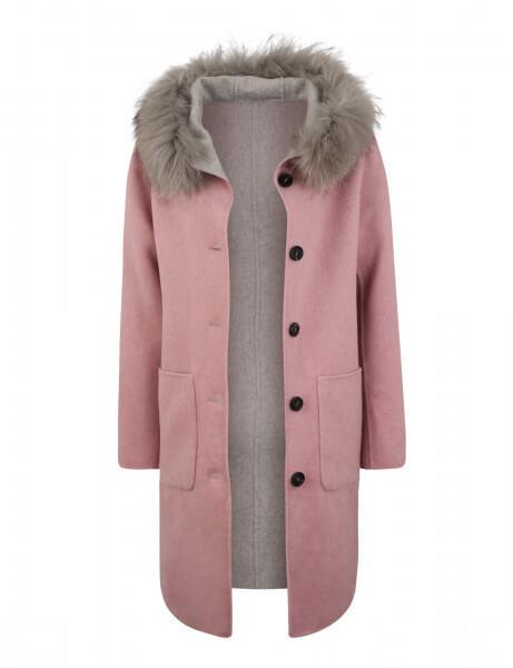 LUCIE 515 • Echtfell Echtfell Wendemantel • Rosé Pink / Light Grey