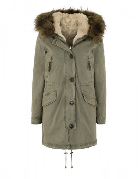 Blonde No.8 Damen Kunstfell Parka Creek 316 Kaki