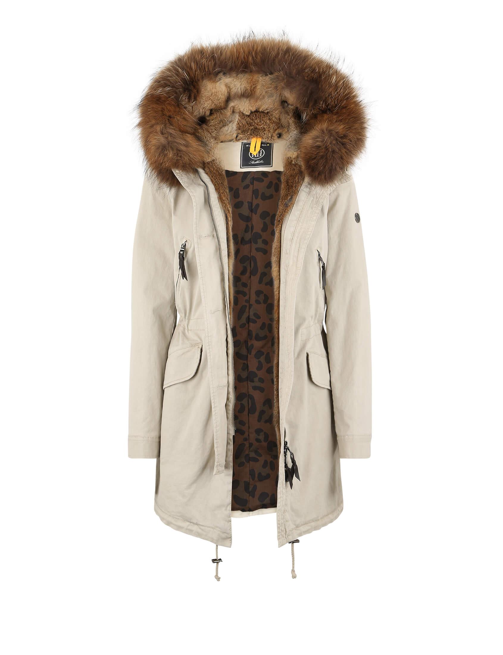 Aspen 515 Real Fur Parka Feather Beige Parka Women