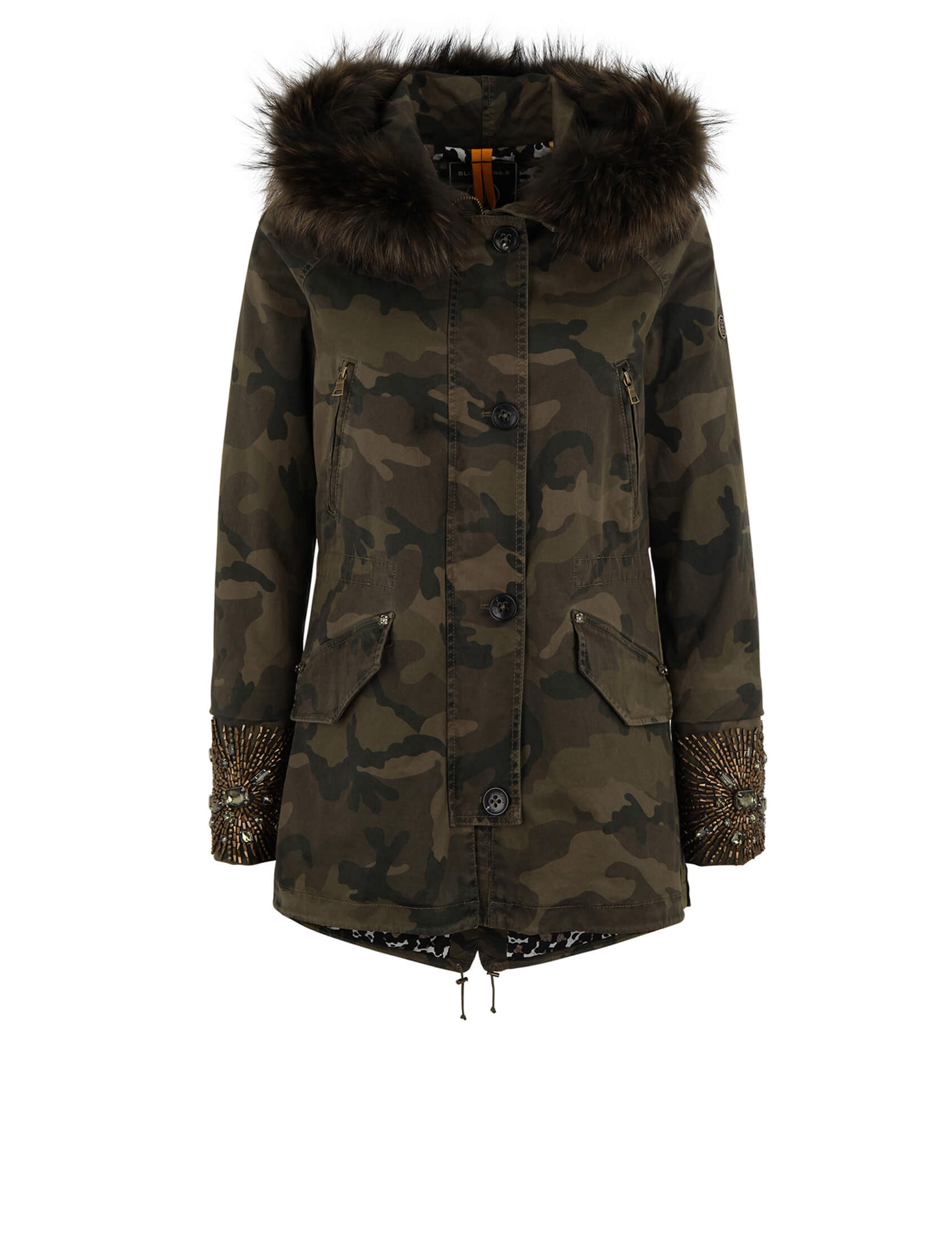 blonde no 8 damen echtfell parka paris 515 camo parka. Black Bedroom Furniture Sets. Home Design Ideas