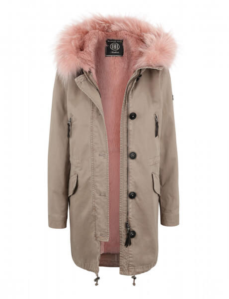 ASPEN 415 • Vollfell Parka • Taupe / Rosé Pink