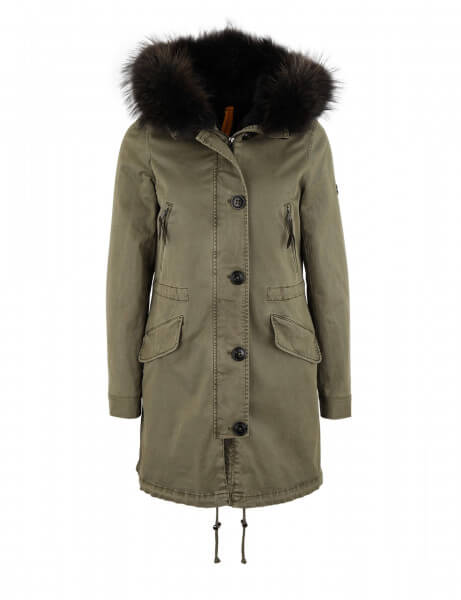 Blonde No.8 Damen Echtfell Parka Aspen 415 Blonde Kaki Dark Grey
