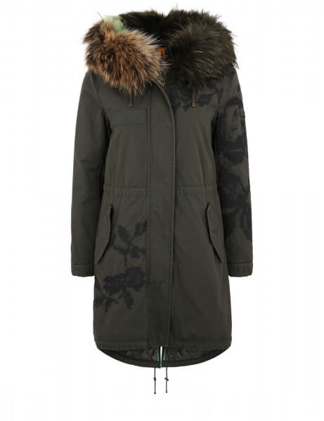 WINDSOR E 515 • Echtfell Parka • Night Green / Nature Mint