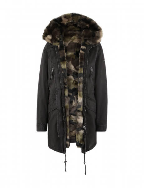 CREEK 314 • Kunstfell Parka • Dark Grey / Camouflage