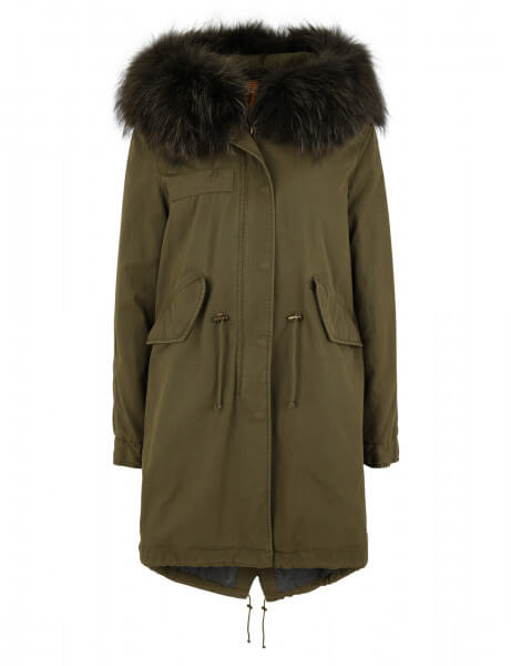 BOZEN 515 • Echtfell Parka • New Kaki / Night Green