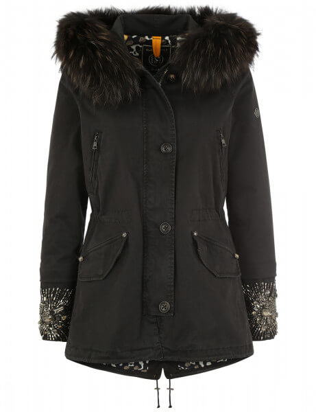 Blonde No.8 Damen Echtfell Parka Paris 515 Graphite