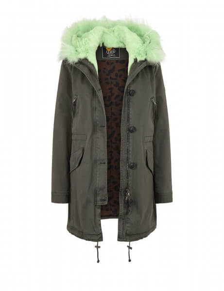 ASPEN 515 LTD • Echtfell Parka • Night Green / Mint